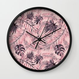 Jungle leaves pattern - Pink Wall Clock