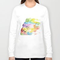 rainbow Long Sleeve T-shirts featuring My Rainbow Totoro by scoobtoobins