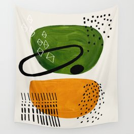 Mid Century Modern Abstract Colorful Art Patterns Olive Green Yellow Ochre Orbit Geometric Objects Wall Tapestry