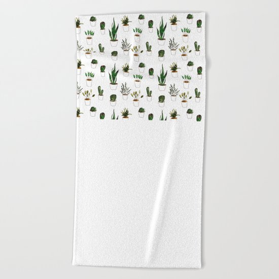 Green plants in white pots Beach Towel
