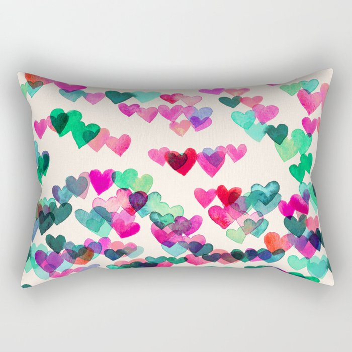 Heart Connections II - watercolor painting (color variation) Rectangular Pillow