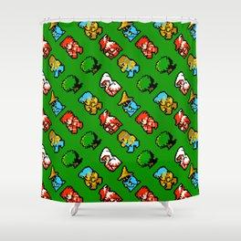 RPG heroes pattern | ff01gg | vintage rpg retro gaming Shower Curtain