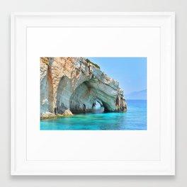 Blue caves - zakynthos Framed Art Print