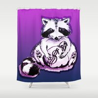 rocket raccoon Shower Curtains featuring What's raccoon? by Kasia Zajczyk