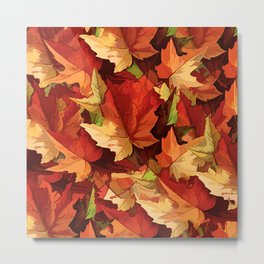 Autumn Leaves Abstract - Painterly Metal Print