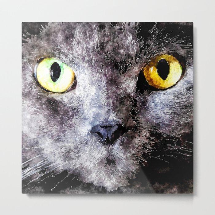 Black cat - Animal Watercolor Illustration Metal Print