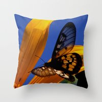 transparent Throw Pillows featuring Transparent Butterfly by Donuts