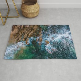 Ocean Waves Crushing On Rocky Landscape, Drone Photography, Aerial Landscape Photo, Ocean Wall Art Rug