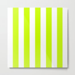 Electric lime green - solid color - white vertical lines pattern Metal Print