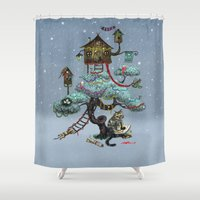 christmas tree Shower Curtains featuring Christmas Tree by Anna Shell