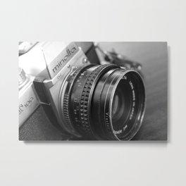 Vintage Minolta Camera 2 B&W Metal Print