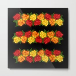 Red Rose Border On Black Metal Print