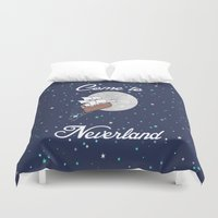 neverland Duvet Covers featuring Peter Pan Neverland in Navy by foreverwars