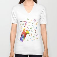 saxophone V-neck T-shirts featuring Saxophone by Miss L in Art