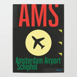AMS Amsterdam Schiphol Airport sticker ff Poster