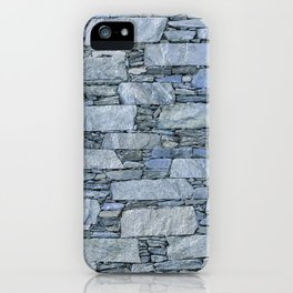 Blue terrazzo wall with shale stones iPhone Case