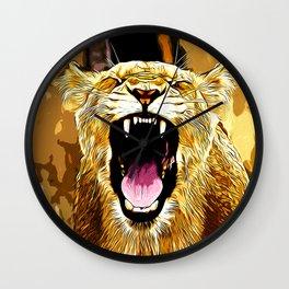 african lioness safari cat v2 vector art Wall Clock
