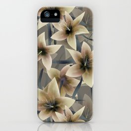 Lily. Grey beige floral pattern . iPhone Case