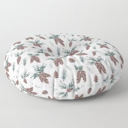 Gouache Pine Cones Floor Pillow