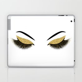 Lashes with gold glitter Laptop & iPad Skin