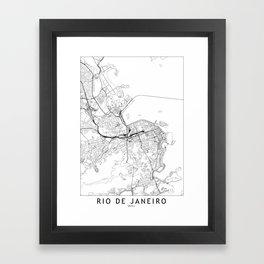 Rio De Janeiro White Map Framed Art Print