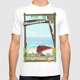 Mozambique fishing travel poster T-shirt