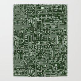 Circuit Board // Green & Silver Poster