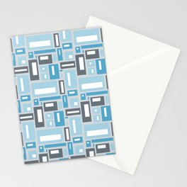 Geometric Pattern in Blue and Gray Stationery Cards