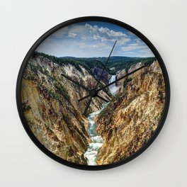 Grand Canyon of Yellowstone River and Lower Falls from Artist Point Wall Clock