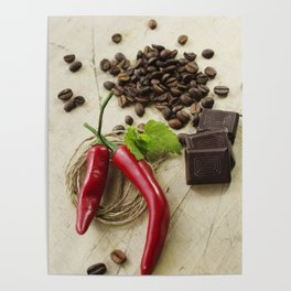 Rustic coffee beans kitchen image Poster