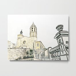 Stairs to the Beach from a medieval Church in Sitges near Barcelona Metal Print