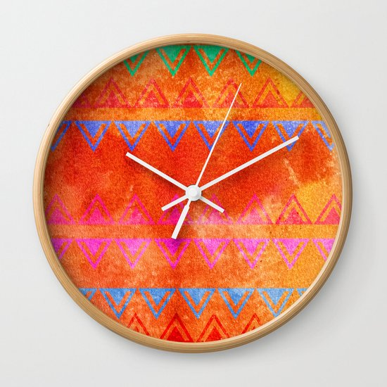 Abstract Bunting Watercolor Painting in Hot Pink, Orange, Mint & Blue Wall Clock