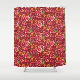 Tropical Fruit Festival in Red | Frutas Tropicales en Rojo Shower Curtain