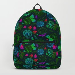 Watercolor Floral Garden in Electric Black Velvet Backpack