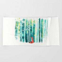 Fox in quiet forest Beach Towel