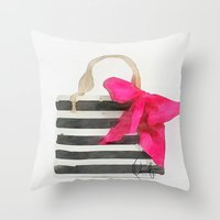 french Throw Pillows featuring French Outing  by Xchange Art Studio