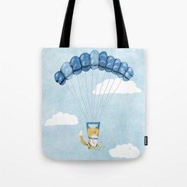 Cutie Parachuting Dog Tote Bag