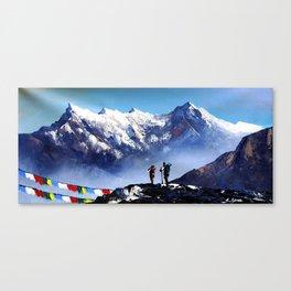 Panoramic View Of Ama Dablam Peak Everest Mountain Canvas Print