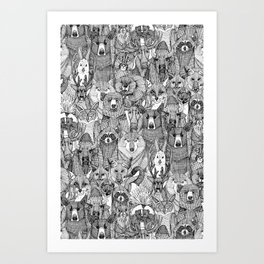 canadian animals black white Art Print
