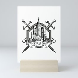 The logo of the Spain with Spanish castle (Alcazar, Segovia) and swords. Mini Art Print