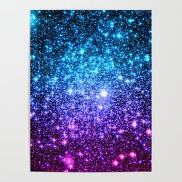 Glitter Galaxy Stars : Turquoise Blue Purple Hot Pink Ombre Poster