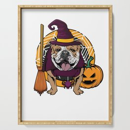 Witch Bulldog Dog Costume For Spooky Halloween Serving Tray