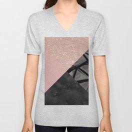 Modern pastel pink black strokes watercolor color block Unisex V-Neck