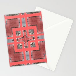 Living Coral Pantone Colour of the Year 2019 pattern decoration with neoclassical architecture Stationery Cards