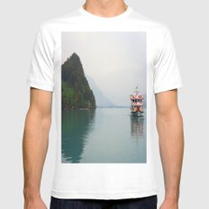 Smooth Waters MEDIUM White Mens Fitted Tee