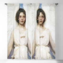 Beautiful Angel With White Wings Blackout Curtain