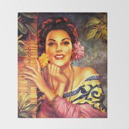 Jesus Helguera Painting of a Mexican Girl Beside Rattan Curtain Throw Blanket