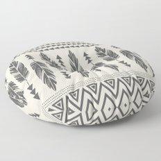 Tribal Feathers-Black & Cream Floor Pillow