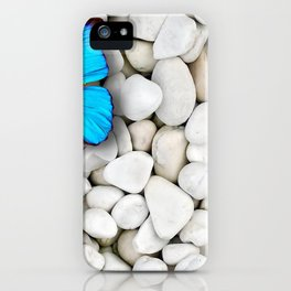 Marvelous Elegant Blue Butterfly Sitting On Gravel Ultra HD iPhone Case