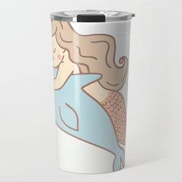 Mermaid And Dolphin Drawing Travel Mug